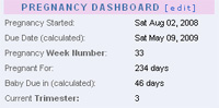Pregnancy Dashboard: your pregnancy today