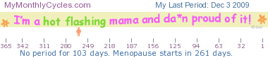 menopause ticker - number of days until menopause starts